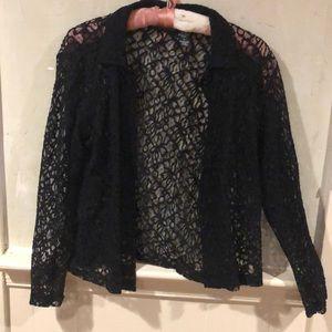 Sheer black button down shirt